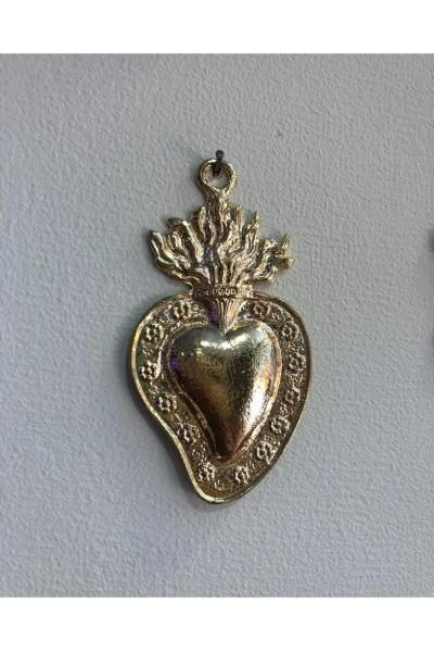 Coeur ex-voto bordé fleurs