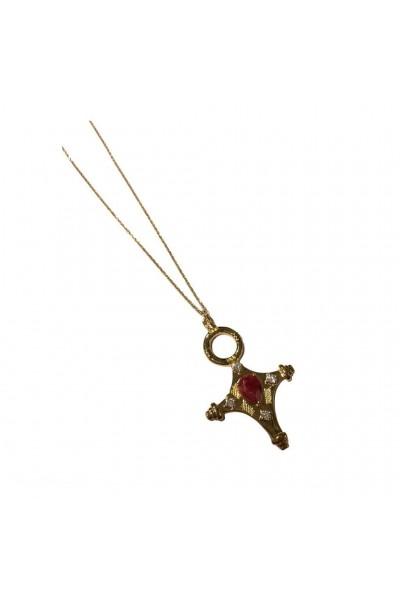 Sautoir croix touareg rouge