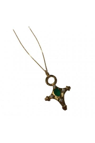 Sautoir croix touareg onyx...
