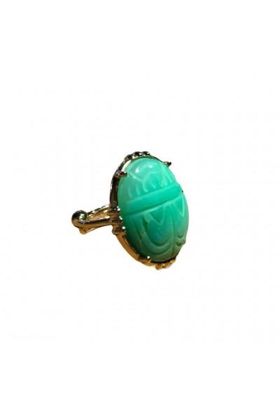 Bague scarabée chrysoprase